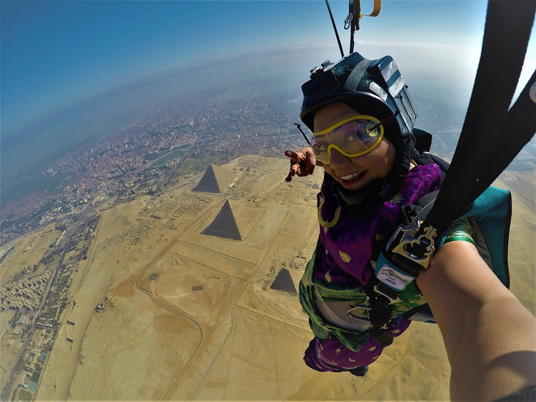 Shital Mahajan skydiving over the pyramids in Egypt
