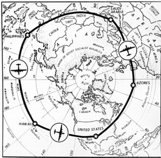 Lucky Lady II circumnavigation flight map